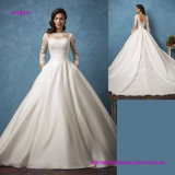 Long Sleeve Open Back Princess Wedding Dress