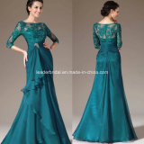 Bateau Blue Evening Dresses Half Sleeve Lace Mother of The Bride Dress B7