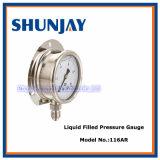 Liquid Filled Oil Pressure Gauge with Back Flange