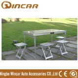 Outdoor Folding Table with Silvery Aluminum Material