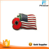 Cheap Price USA America Flag with Poppy Metal Lapel Pin