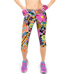 Womens High Waist Fitness Printed Stretch Cropped Leggings (50041)