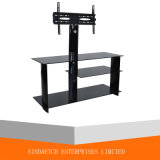 Tempered Glass TV Stand with Swivel TV Bracket