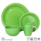 Green Color Hand Painting 16PCS Dinner Set