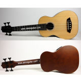 Aiersi Natural Color All Solid Body Electrical Acoustic Bass Ukulele