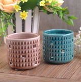 Hollowed-out Ceramic Tea Light Candle Holder