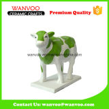 Green Ceramic Kids Gifts Wholesale Cow Shape Coin Bank