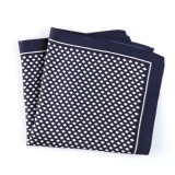 Fashionable Navy Blue Silk Polyester Printed Plaid Pocket Square Hanky Handkerchief