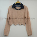Denim Collar Scallop Cropped Sweater Petite Clothing