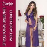 Woman Purple Lace Sleep Night Long Dress (L5076-1)
