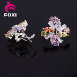 Hot Sale Fashion Flower Silver Cubic Zirconia Cuff Earring