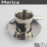 Stainless Steel Double Wall Coffee Cup with Plate