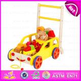 2016 New Model Baby Building Blocks Walker Toy, Multi-Function Wooden Baby Walker Toy, Popular Cart Toy W16e020