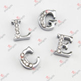 8mm Silver Half Crystal Letters Slide Charms for Jewelry