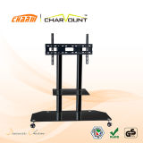 High Quality 2 Tiers Tempered Glass Moving TV Stand Has Wheels (CT-FTVS-F101B)