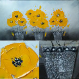 New Design Yellow Flowers Pot Carnation Oil Painting (LH-700589)