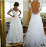 Cap Sleeve Sheer Lace Neckline A-Line Open Back Wedding Dress W1331