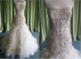 Trumpet/Mermaid Sweetheart Court Train Organza Wedding Dress with Beading Appliques