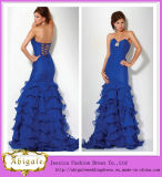 2014 New Sexy Mermaid Ruffles Organza Tired Lace up Back Beaded Sweetheart Arabic Evening Dress Yj0046