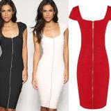 OEM Women Clothes 2015 New Arrival Front Zipper Ladies Dress
