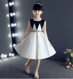 Knee Length Black White Satin Children Party Dress