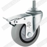 Medium Duty Single Bearing Tpp Thread Stem Top Brake Caster (Gray) (G3117)