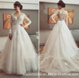 Lace Bridal Ball Gowns V-Neck Sleeves Wedding Dresses M8111