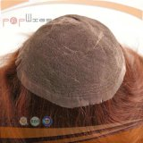 Human Hair Hangtied Style Red Color Toupee