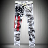 Custom White America Flag Printing Spandex Slim Leisure Big Size Jeans Trousers