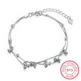925 Sterling Steel with Several Bowknot Bracelet Pole Chain Charm Gracile Bracelet