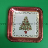 9inches White Cardboard Square Paper Plate for Christmas Party