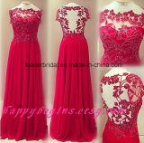 Red Bridesmaid Dress A-Line Chiffon Lace Prom Dress Z214