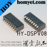 2.54mm 4-Digit SMT Dial Switch/Toggle Switch/Micro Switch (HY-DSPV08)