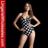 Hot Selling Monokini Swimwear White Polk Dots Halter Sexy Bikini for Women