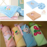 Coral Fleece Baby Blanket with Lovely Embroidered Carton Design
