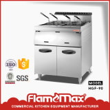 2-Tank 4-Basket Stainless Steel Gas Deep Fryer with Cabinet (HGF-90)