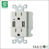 Us Duplex Receptacle with Twin USB Charger Ports with Tr