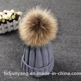 Knitted Winter Hat with Cheap Fur POM POM