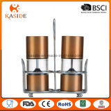 Hot Stainless Salt and Pepper Grinder Set with Metal Stand