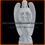 Angel Memorial Monument with Cross in Marble mm1732