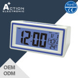 Cute Digital Sound Controlled LED Backlight Alarm Desk Clock with Snooze