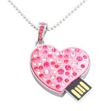 8GB Heart Pendant USB Memory Stick Pen Drive Diamond