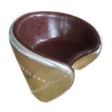 Retro Leisure Aluminum Leather Parlor Chair