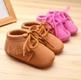 Khaki & Pink 0-1 Year Infant Toddler Moccasins Soft Sole Baby Shoes