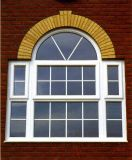 Caribbean Style UPVC Casement Window with Double Glass, Double Glazing Glass UPVC Window with Full Divided Light Grille