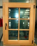 New Design Casement Style Wood Window with Aluminum Mask