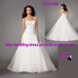 Heavy Beading Tulle Wedding Dress Gown with Zipper up Back