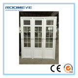 Roomeye UPVC Casement Door with Shutter/Jalousie/Louver Double Glass with Girll