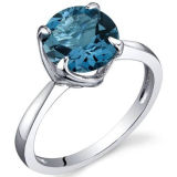 Claw Setting Silver Ring Jewelry with Blue Topaz