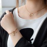 Rope Latter Rhinestone Pendants Choker Necklace Double Chain Bracelets Fashion Jewelry Set